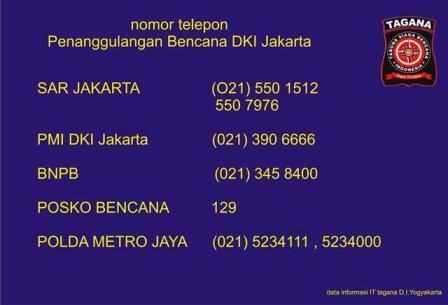 Nomor Telepon Darurat Penanganan Banjir Jakarta